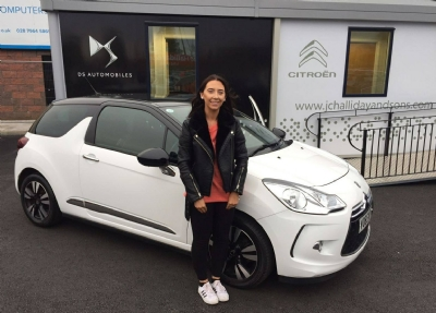 Another happy customer from J C Halliday & Sons Mid Ulster collecting her Approved Used DS3